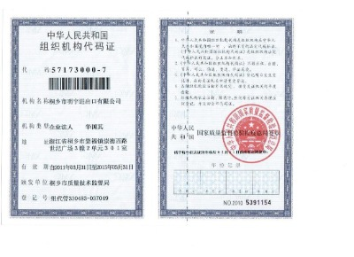Organization Code permits People's Republic of China