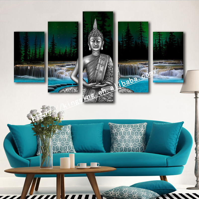 Modern Printed HD Buddha Painting 5 pieces Canvas Wall Art decor painting good price for selling and home decor