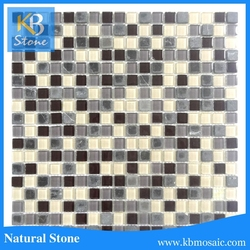 Beauti wallpap black and white crystal glass mix marble mosaic tile
