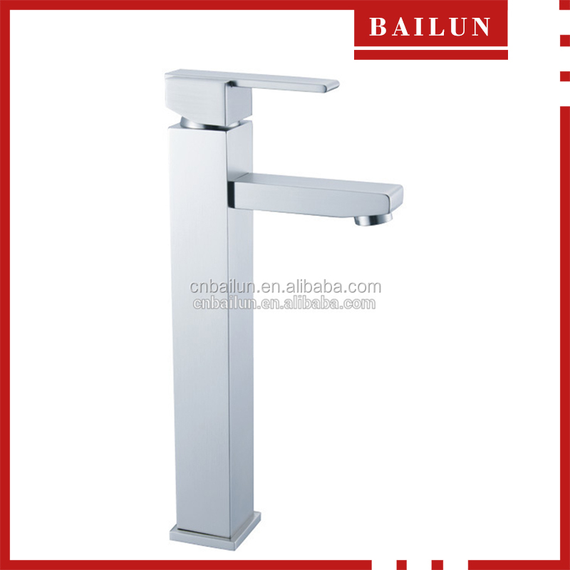 square design chrome plated cheap brass body deck mounted mirror surface high quality single handle high basin faucet