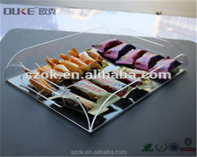 Promotional price supermarket retail clear square acrylic candy tray