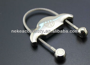 steel wire rope car shaped metal keychain