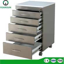 Mobile metal dental furniture cabinets with 5 drawers for dental clinic for sale