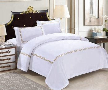 Cotton sateen double size hotel embroidered duvet cover set