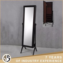 Custom Black Full-Length Jewelry Armoire Wood Mirror