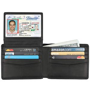 Genuine Leather RFID Blocking Bifold Stylish Mens Wallet With 2 ID Window