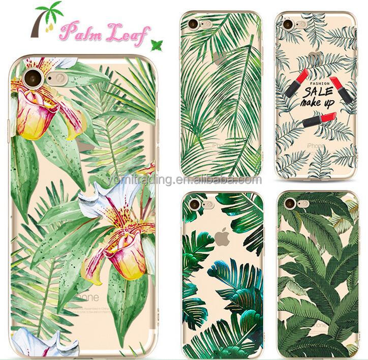 2017 new arrival Customized TPU case for Iphone7plus palm leaves mobile phone protective cover