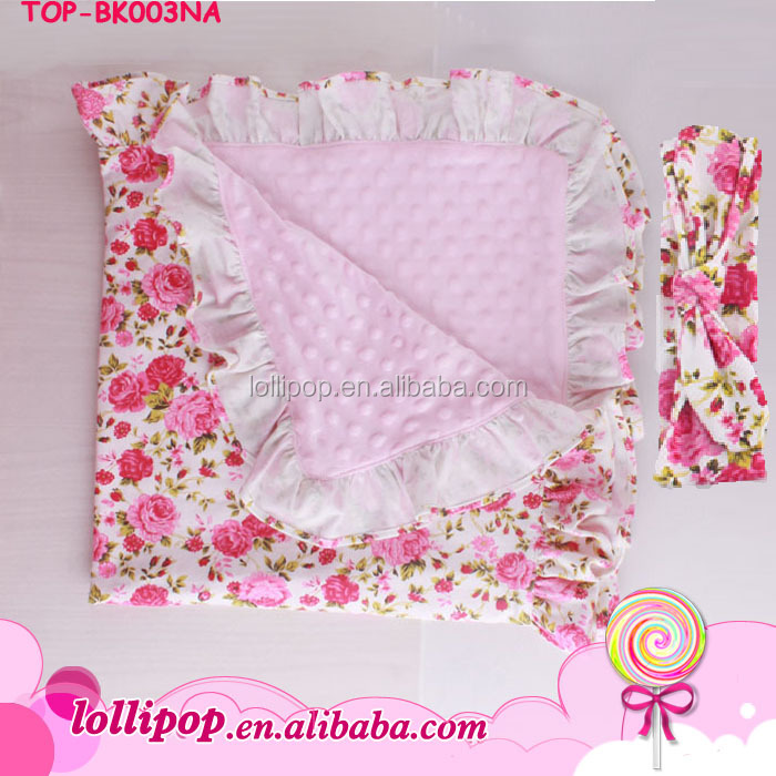 "Wholesale Popular Blankets Factory China print double Cotton dotted back 32'' * 32"" floral ruffle newborn Baby Blanket"
