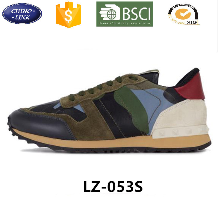 2017 China High quality suede customize lifestyle jogging Camouflage pattern Fabric sports shoes men woman running sport shoe