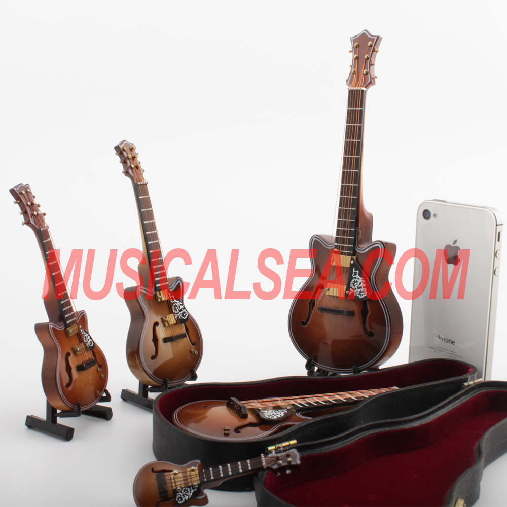Miniature Wooden guitar decorative and christmas tree ornament musical instrument crafts