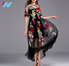 Yihao wholesale New latest design dress women lady's fashion embroidery casual long dress