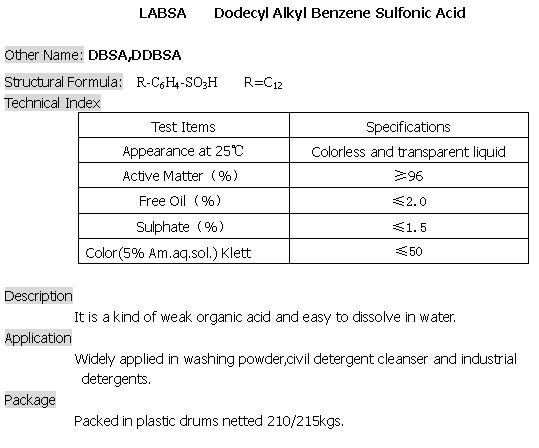 LABSA 96%- Linear Alkyl Benzene Sulfonic Acid, LABSA 96%