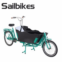 two wheel cargo bike trailer with front wooden box
