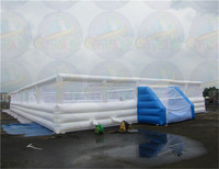 Super giant inflatable football field, soap football field, inflatable football pitch for sport fun