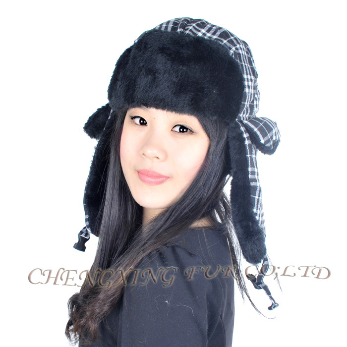 CX-C-39C Womens Winter Aviator Trapper Faux Fur Hat