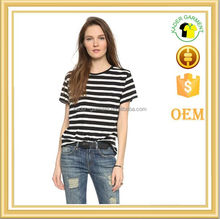 women contrast stripes t shirt fashion cotton t shirt wholesales
