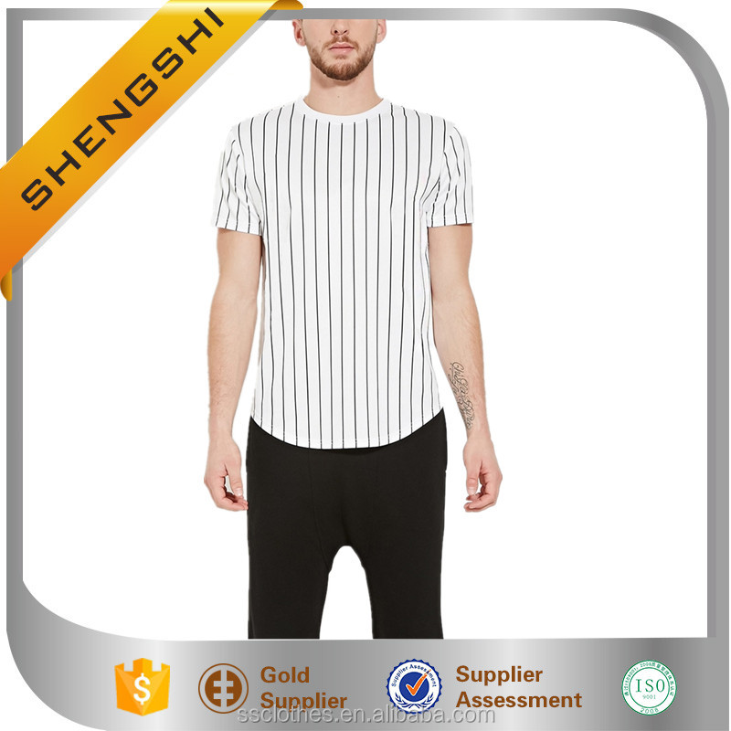 Shengshi man cotton vertical stripe oem short sleeve branded t-shirt