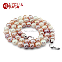 Wholesale mix colore pearl necklace with silver chain for wedding/ shiny pearl necklace