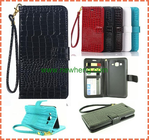 Crocodile Grain Purse Style Genuine Leather Case For Samsung Galaxy J5