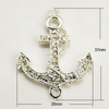 Alloy Metal Grade A Rhinestone Silver Ship Anchor Connector Links(X-RB-B061-A01S)