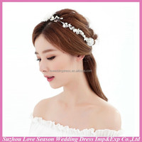 WC0020 New fashion top quality invory hot sale beautiful cute shiny crystals pearls girls hair bands