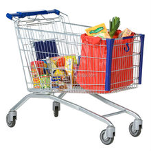 high quality super market trolley shopping bag with chair wheels
