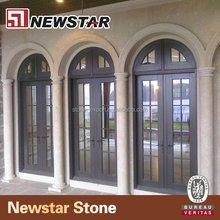 Exterior arched marble stone door surround