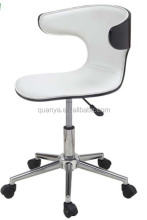 White painted plywood chair with cushion chromed gas lift legs office chairs