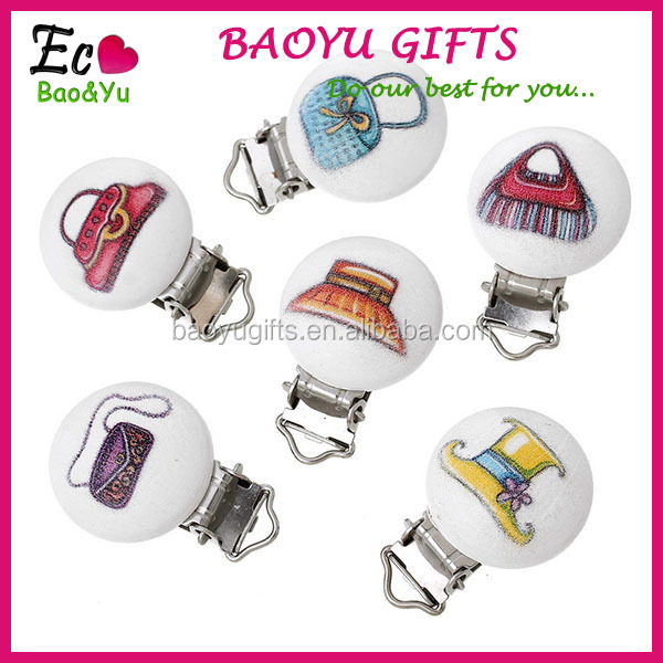 Women's Wood Baby Pacifier Round Clips Mixed Pattern Pacifier Clip Holder