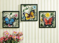 Wholesale Tri Beautiful Butterflies Metal Relief Images Of Handmade Wall Hanging Art Decoration Wholesale