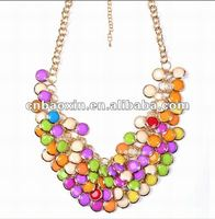 Stylish Handmade Bead Acrylic Bib Link Necklace