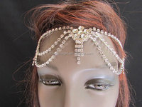 women fashion metal side head band forehead jewelry hair accessories wedding
