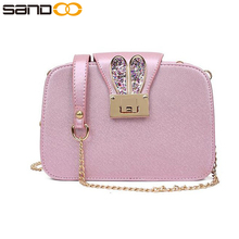 wholesale fashion square ears lady long chain bag