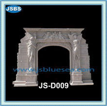 angel carved white marble stone arch door