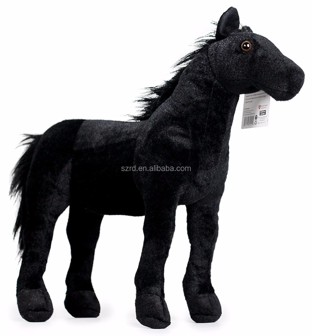 18 Inch Large Black Stallion Horse Stuffed Animal Plush Pony/2016 hot selling plush toy/pp cotton soft toy
