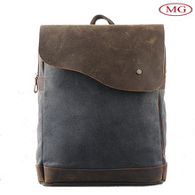Canvas Leather Men's Backpack Wholesale from China with Small MOQ-OEM/ODM
