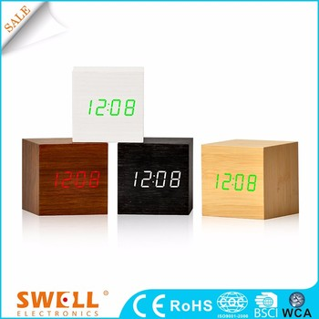 home wood decoration table cube clock for desktop