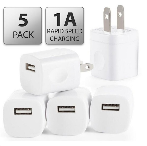 Wall Charger,3-Pack Universal 1.0 AMP Home AC USB Power Charger Adapter Wall Plug for Apple iPhone 6/6s Plus