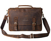 Vintage cow leather executive briefcase, genuine leather business conference file shoulder bag