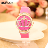 Women Grace Fashion Diamond Crown Dial Solid color Strap Beautiful Ladies Wrist Watch