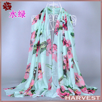 Valentines Gift 2015 Spring Floral Printed Viscose Shawl For Lady