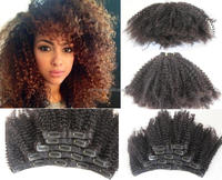 Alibaba Express In Stock Wholesale Unprocessed Afro Kinky Curly Clip In Hair Extensions/Clip In Hair Extension