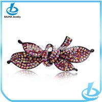Ladies vintage jewelry elegant bowknot full colorful rhinestone hair barrette
