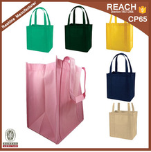 2017 Non Woven Reusable Grocery Shopping Tote Bags with Plastic Bottom Insert Reinforced Handles