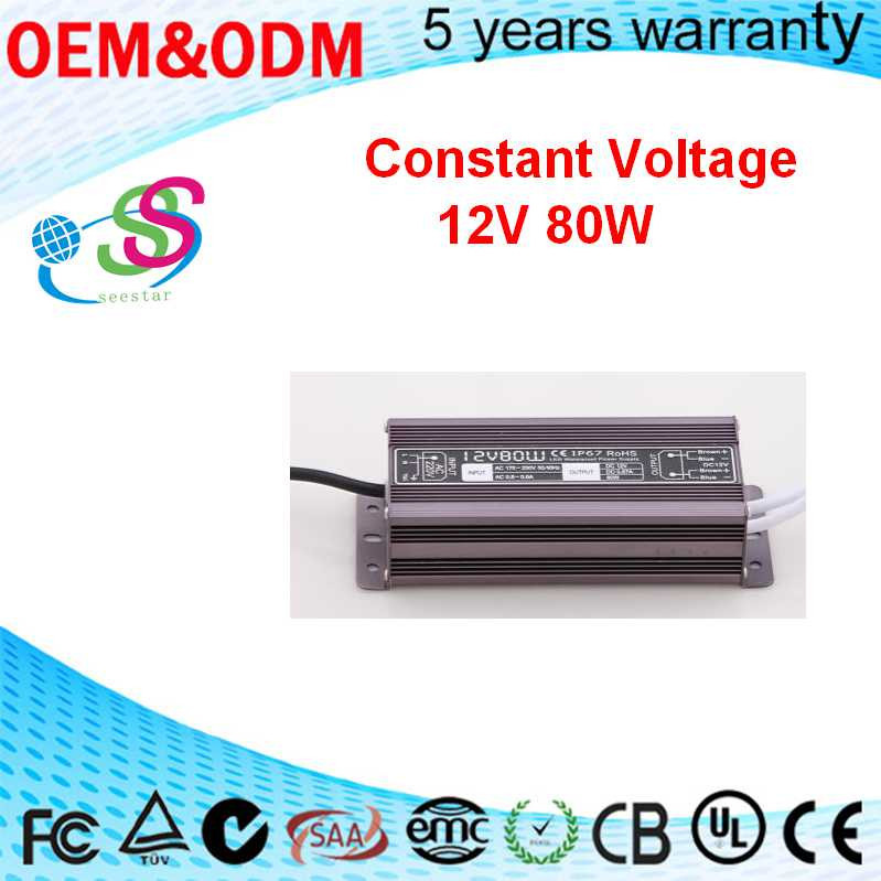 80w 12V 24V DC led power constant voltage waterproof led strip power supply IP67