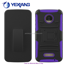 3 in 1 shockproof mobile phone kickstand slip cover case for Moto z play belt clip case