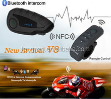 BT Interphone with Remote Controller FM NFC 5 Riders Bluetooth Motorcycle Intercom 1200M Intercomunicator