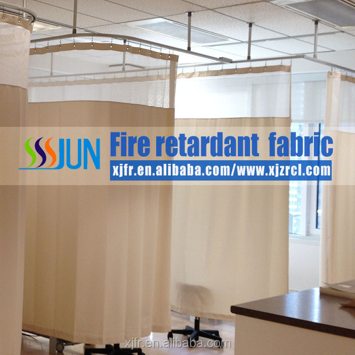 100% woven polyester Fire Retardant Antibacterial Hospital Curtain for bed cubicle/room curtain