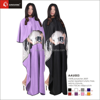 HOT!! High quality new polyurethance polyester salon cape with Clear PVC window