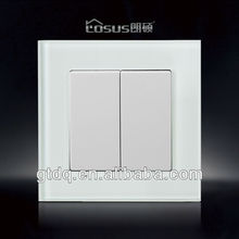 Galss face 2 gang 1 way euro electrical switch, LS002